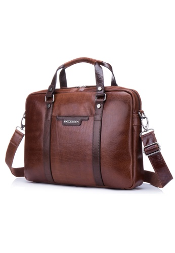 "ENZODESIGN brown ENZODESIGN Fine Buffalo Leather 15"" Macbook Slim Brief  EN880AC71LBWHK_1"