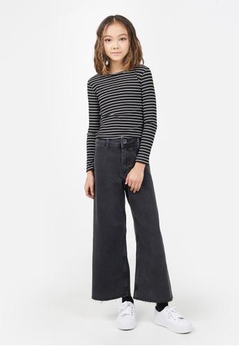 Gen Woo black Striped Rib-knit Long sleeved T-shirt By Gen Woo 27F73KA3933798GS_1