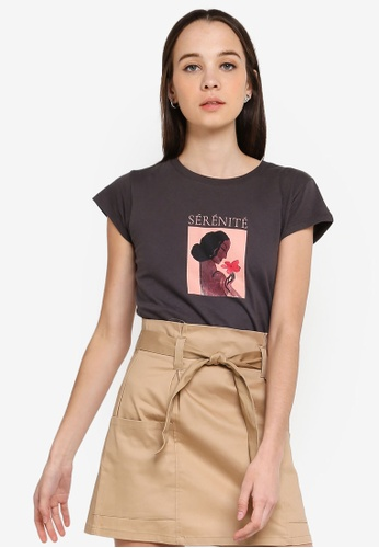 Cotton On grey Tbar Rachael Graphic Tee Shirt D78D8AAF0B357AGS_1