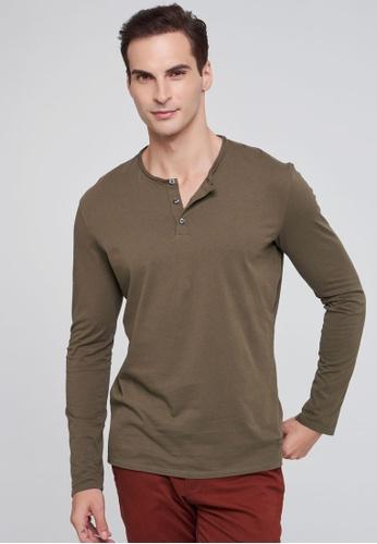 Sisley brown Regular Fit Henley Shirt C7791AA40C15E0GS_1