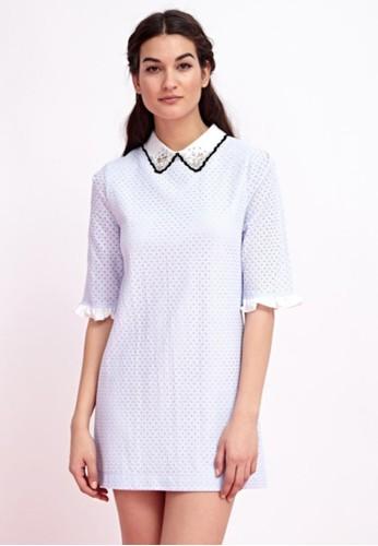 蕾絲有領五分袖洋裝,esprit tw 服飾, 短洋裝