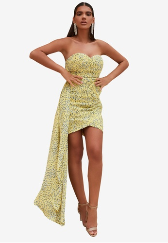 Lavish Alice yellow Pleated Chiffon Sweetheart Mini Dress EF461AA46731D3GS_1
