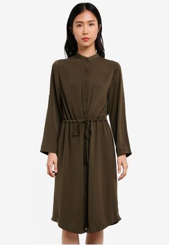 ZALORA green Midi Shirt Dress 66834AADE9E737GS_1