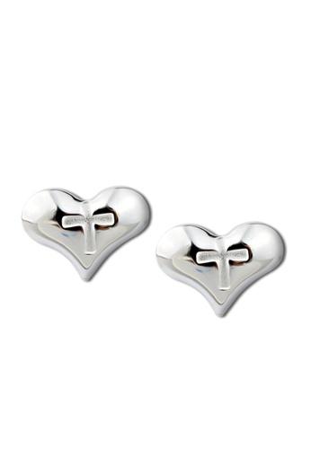 SC Tom Silver silver Cross Heart Stud Earring-ES021 SC872AC27ARKPH_1