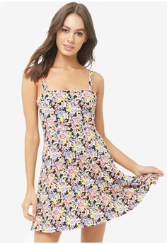 69d74e1f96e FOREVER 21 pink and multi Floral Tie Back Mini Skater Dress  AC55DAAE232264GS_1