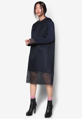 韓系時尚網紗覆蓋長袖連身裙,zalora 評價 服飾, 洋裝