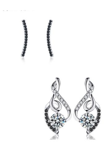 A-Excellence black Premium Elegant Black Silver Earring Set 1A02EACECB026CGS_1