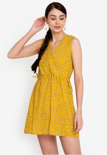 OLIVIA yellow Marian Overlap Ruched Dress 06DF5AA711A47BGS_1