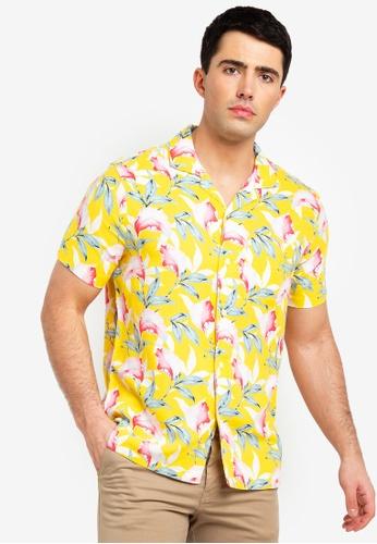 Abercrombie & Fitch 黃色 短袖印花襯衫 A6321AA0AA7DD9GS_1