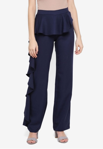 Lubna blue Side Ruffles Pants F1AB4AACE85719GS_1