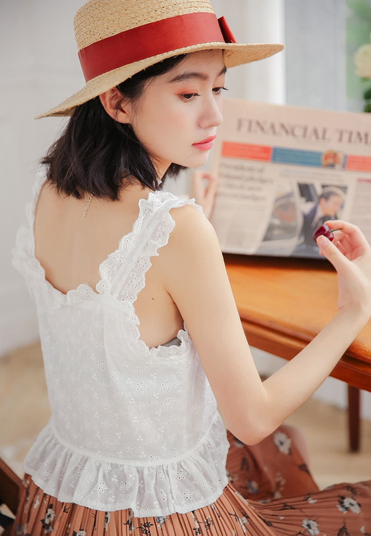 Crochet in White Blouse Shopsfashion White Ruffles pqw5n8H