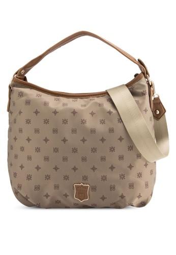 仿皮邊飾印花尼龍手提包, 包,zalora退貨 包