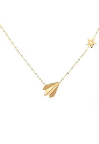 CELOVIS gold CELOVIS - Adventurer Paper Plane Pendant Necklace in Gold 2FCEBAC864135CGS_1