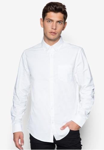 Burton Menswear London 白色 簡約長袖牛津襯衫 BU838AA80JWTSG_1
