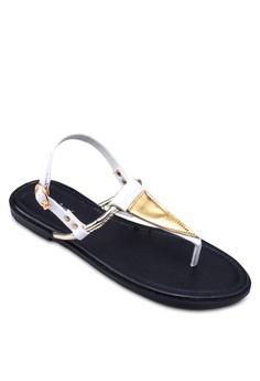 Triangle T Strap Sandals