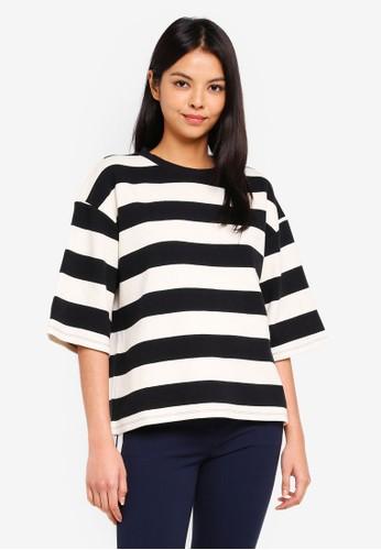 ESPRIT black Striped Sweatshirt D5981AA8015233GS_1