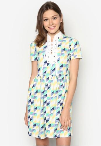 幾何印花繫帶連身裙, 服飾,esprit品牌介绍 短洋裝