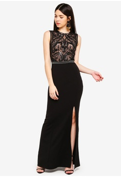 36a500bc5b 36% OFF Lipsy Black Nude Sequin Maxi Dress RM 549.00 NOW RM 348.90 Sizes 8  12 14