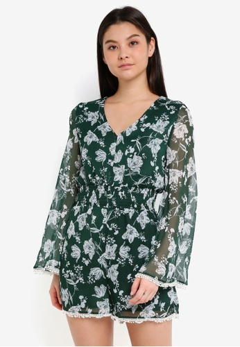 Cotton On green Woven Laura Flutter Sleeve V-Neck Playsuit 38E5CAAA1A463DGS_1
