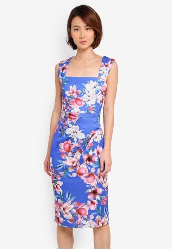 Dorothy Perkins blue Blue Floral 'Lara' Bodycon Dress 62F1BAAE281E79GS_1