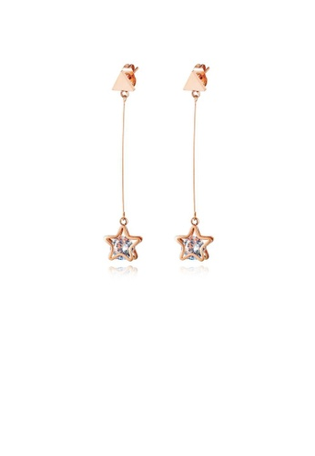 Glamorousky white Fashion and Simple Plated Rose Gold Star Tassel 316L Stainless Steel Earrings with Cubic Zirconia 0B234AC687779DGS_1