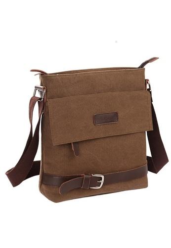 A FRENZ brown Vintage Knights Canvas Bag/Messenger Bag/Sling Bag/Shoulder Bag Brown AF152AC19USYMY_1