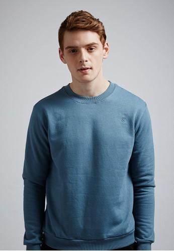 經典簡約。電esprit tw繡logo。高磅刷毛棉質大學T-MIT-03729-藍色, 服飾, 長袖T恤
