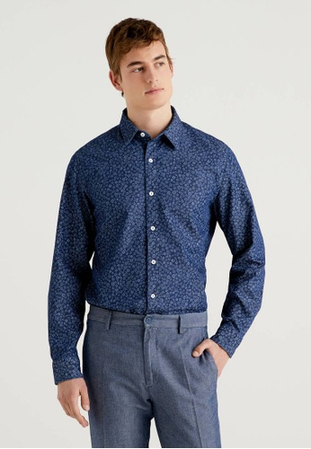 United Colors of Benetton blue Pure Cotton Printed Shirt 15238AA7D3FA19GS_1