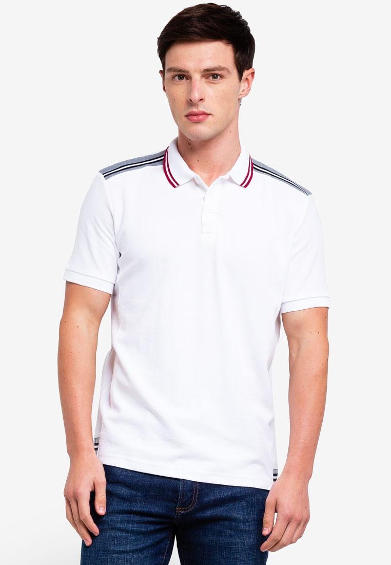 Trims Striped UniqTee White Shirt With Polo Pique nAPvn