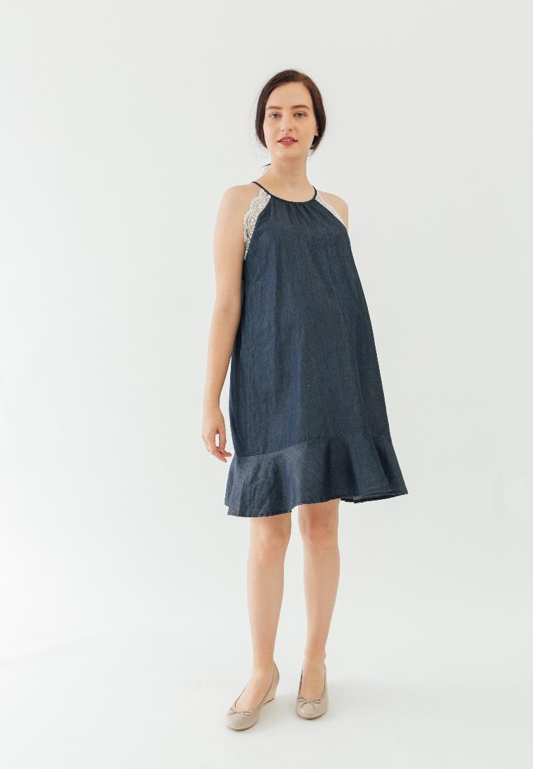 Spring Denice Blue Halter Sleeveless Maternity Blue by Bove Dress Neck aPHwTZqTRS