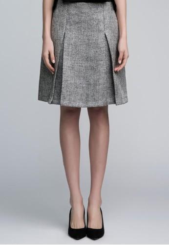 光澤編織A字裙, esprit台灣outlet服飾, 及膝裙
