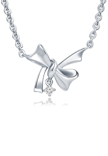 MaBelle silver 925 Sterling Silver Diamond Ribbon Necklace 97FBAACEEF607EGS_1