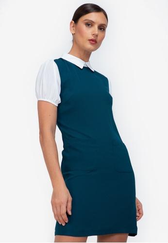 ZALORA WORK green Contrast Puff Sleeves Dress CDC15AAA814C2DGS_1
