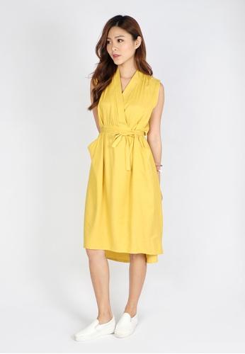 Sophialuv yellow High Low Hem Overlap Dress Belted Dress in Mustard BB8FFAA1368614GS_1