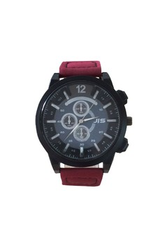 JIS Men Leather Watch with Sub Dial Design