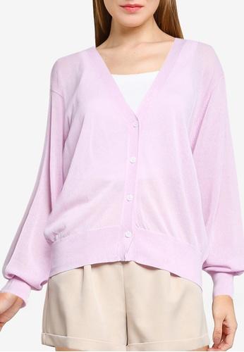 LOWRYS FARM pink Sheer Buttoned Cardigan C43FFAAD827BB7GS_1