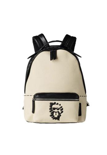 KARL LAGERFELD beige K/Ikonik Graffiti Backpack CD7EDAC319C790GS_1