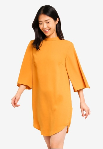 ZALORA BASICS yellow Basic High Neck Wide Sleeves Shift Dress C94D5AA2717E7DGS_1