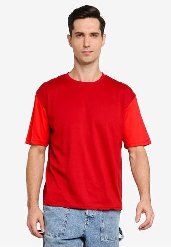 ZALORA BASICS red Layered Sleeves Boxy T-shirt 32553AA354995EGS_1