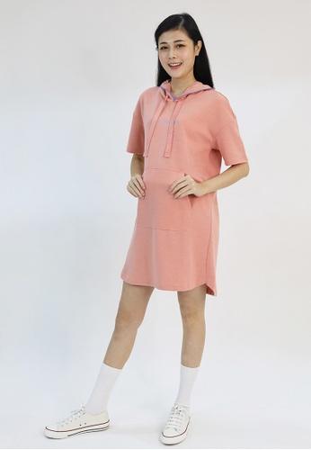 Cheetah pink Cheetah Ladies Short Sleeve Hooded Dress - CL-19596 A8279AA87084BCGS_1