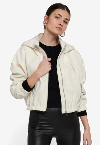 ONLY white Monica Faux Leather Hooded Jacket 3F188AA9F91AF1GS_1