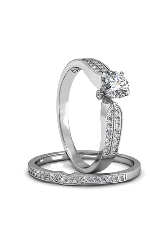 Her Jewellery silver Swarovski® Crystals -Empress Ring (18K White Gold Plated) Her Jewellery HE581AC0RDOCMY_1