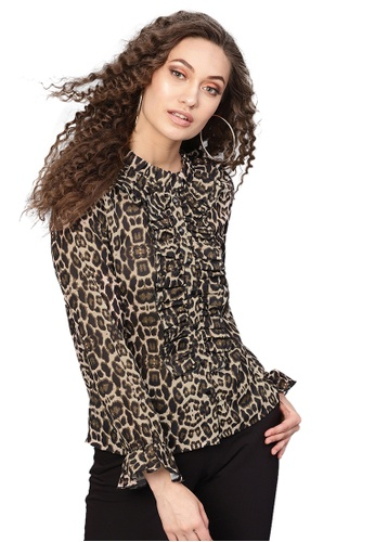 SASSAFRAS black Black Cheetah Cascading Ruffles Shirt 5F3F8AAED0C0E4GS_1