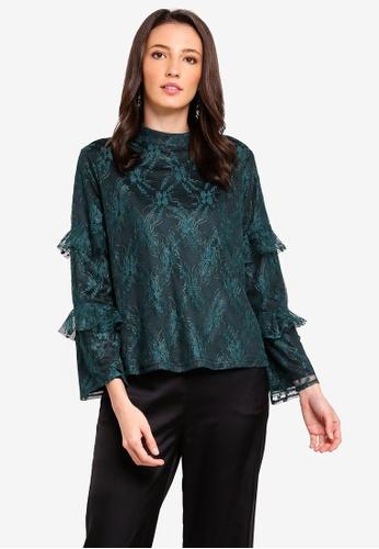Zalia black and green Lace Top With Frills 171F6AAB47B7B5GS_1