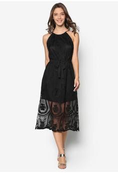 Lace Slit Midi Dress