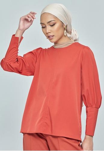 MC Vogue Coral Button Puff Sleeve Top BAFCDAA56E05C2GS_1