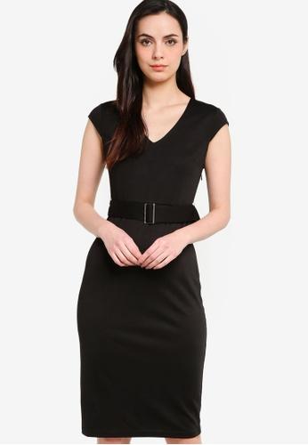 ZALORA WORK black Cap Sleeve Knee Length Dress With Belt 5C9D4AA061F042GS_1