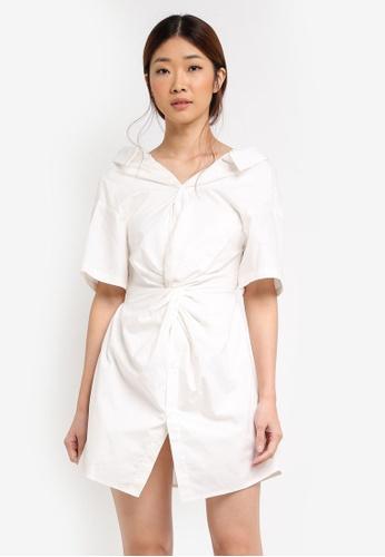 Something Borrowed white Twist Wrap Cold Shoulder Shirt Dress E3DD3AAA11A3C6GS_1