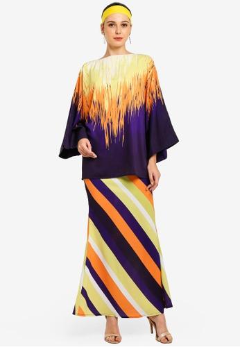 Rain Kimono Kurung With Striped Skirt from Tom Abang Saufi for ZALORA in Multi