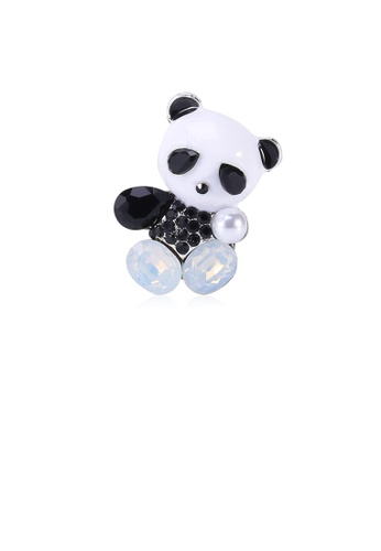 Glamorousky white Simple and Cute Panda Brooch with Black Cubic Zirconia B8B06ACF7E3D37GS_1